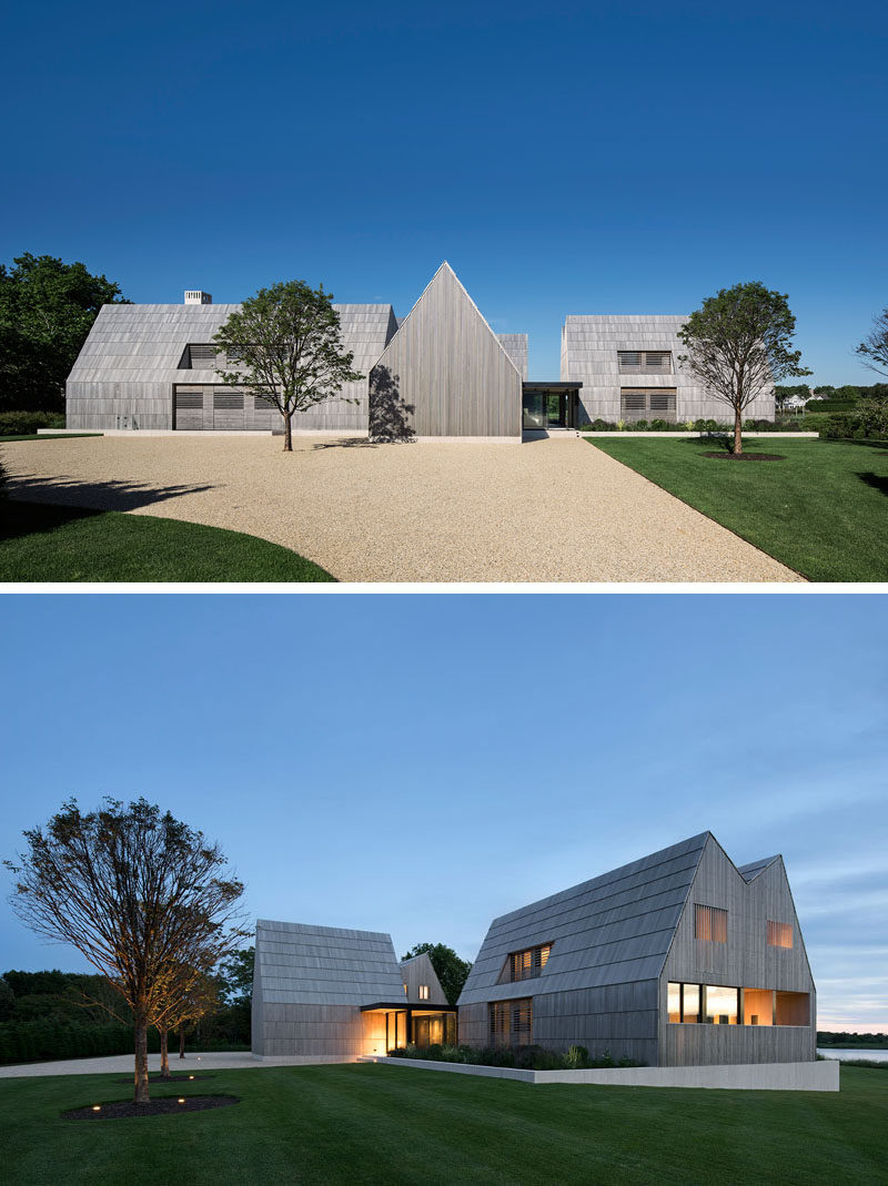 This modern house has cedar shingles have been scaled up to the size of boards to cover the roof and sidewalls, while cedar screens provide privacy and filter light. #Shingles #Architecture #ModernHouse