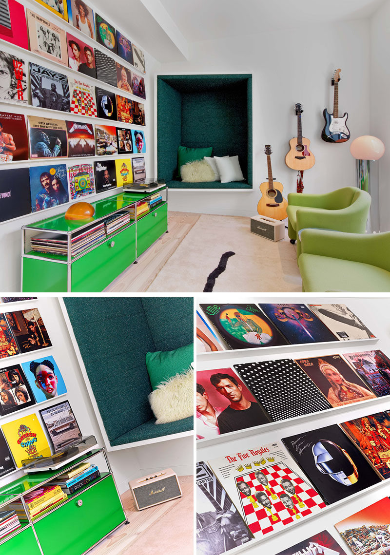 This modern house has a custom music room with a built-in seating nook and a record display wall.