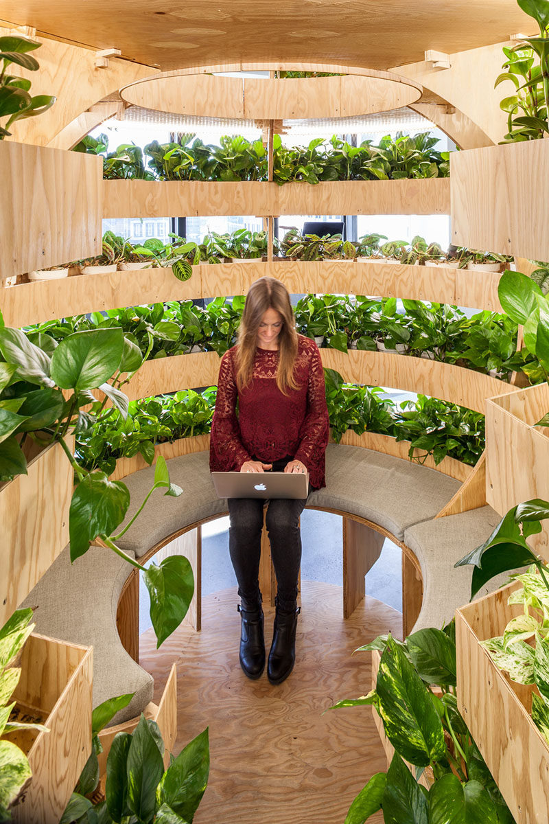 This modern healthcare office has a Growroom, a spherical garden that empowers people to grow food. #Growroom #Plants #OfficeDesign #Workplace