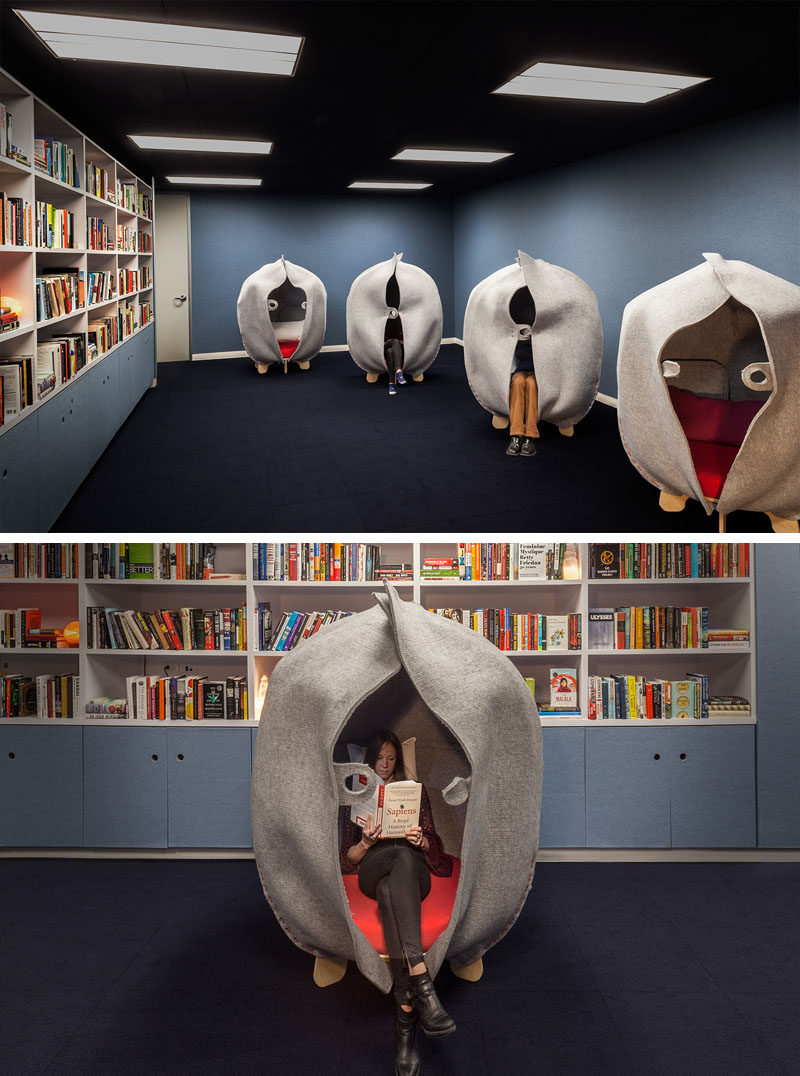 This modern office has a library and meditation room for employees to have some private time after a difficult call or meeting. #Library #OfficeDesign #QuietRoom #InteriorDesign #Workplace