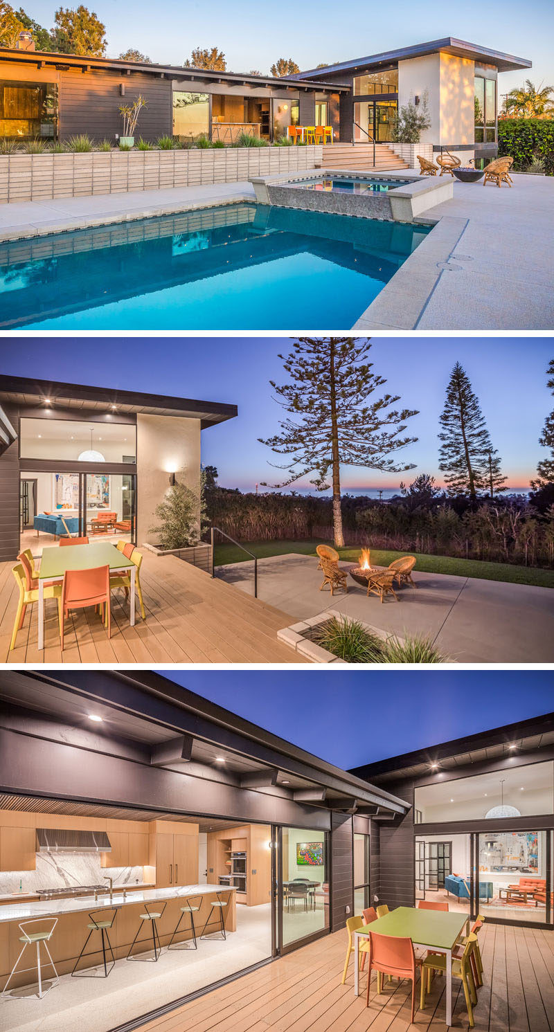 This renovated mid-century modern house has a deck, swimming pool, outdoor dining area, hot tub and a fire pit. #Landscaping #Deck #SwimmingPool #FirePit #OutdoorDining