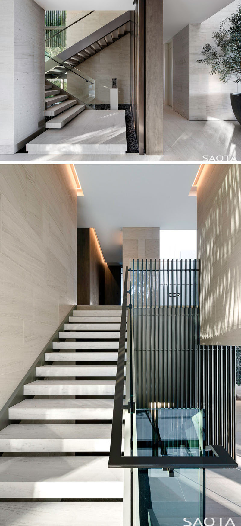 These modern stairs with glass safety screens and steel handrails lead to the upper floor of this house. #Stairs #Staircase #ModernStairs