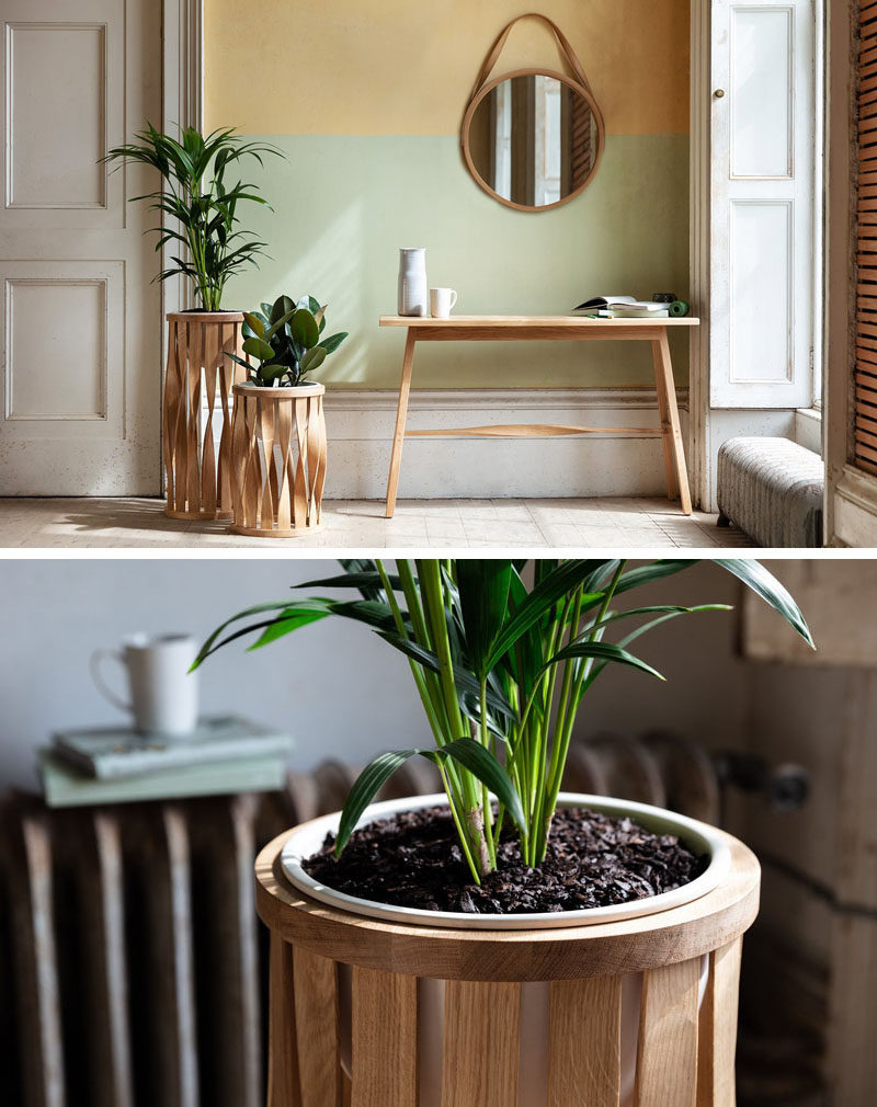 From his studios in Cornwall, England, designer Tom Raffield has created his new line of modern wood planters named 'The Green Range'. #ModernPlanter #Plants #PlantStand #Design