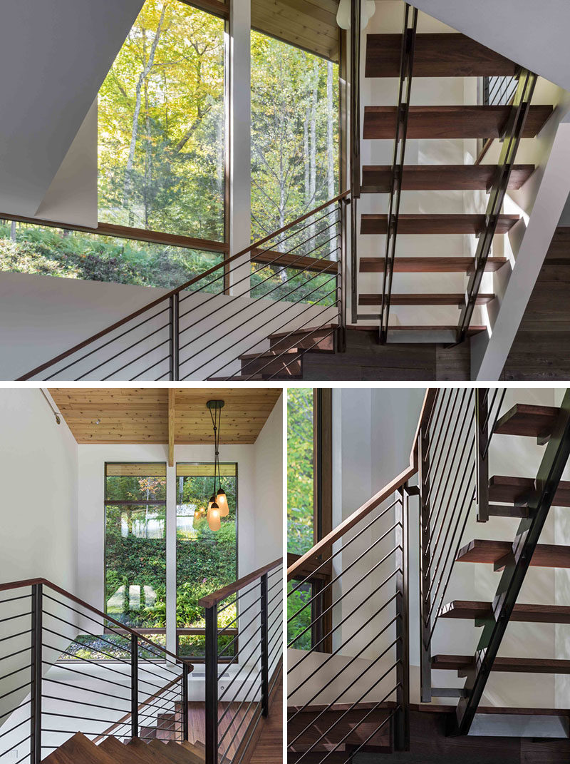 As this modern house is two-levels, there's a wood and steel staircase that connects different floors. #Staircase #Stairs #WoodAndSteelStairs