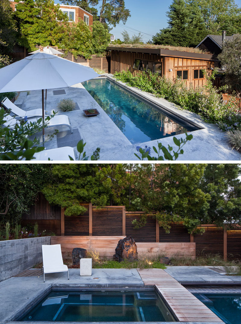 This modern backyard has a narrow and long swimming pool with a patio that runs the length of the pool. From this view of the backyard, you are able to see the garage with a green roof. #SwimmingPool #GreenRoof #Garage #Landscaping
