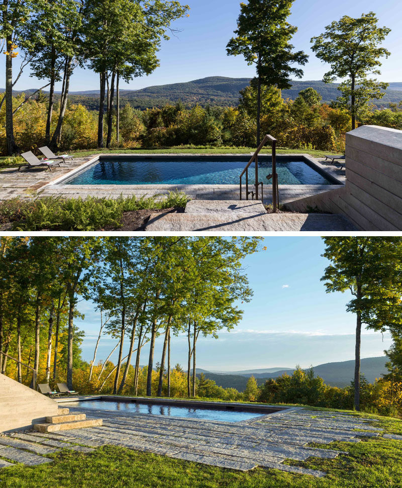 This modern swimming pool is positioned at the edge of a drop-off, and it has views of the valley and ridge beyond. #SwimmingPool #Pool #Landscaping
