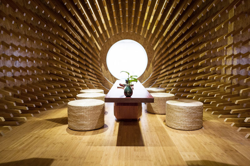 MINAX Architects Have Designed ONE Teahouse, A Modern Tea Room That Has 999  Wooden Sticks
