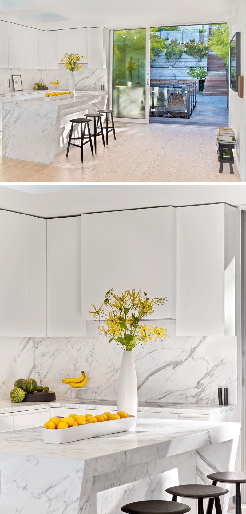 This kitchen combines white cabinets and marble countertops for a modern look. #ModernKitchen #WhiteKitchen #KitchenDesign #WhiteMarble