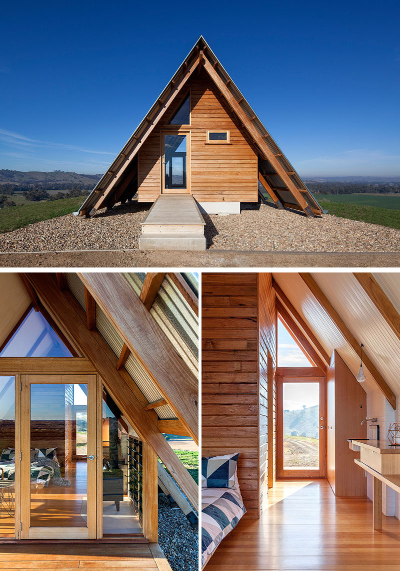 An expressed hardwood structure anchors the cabin, defining the interior spaces and framing views of the surrounding farmlands. #Cabin #Hut #Architecture #Doors