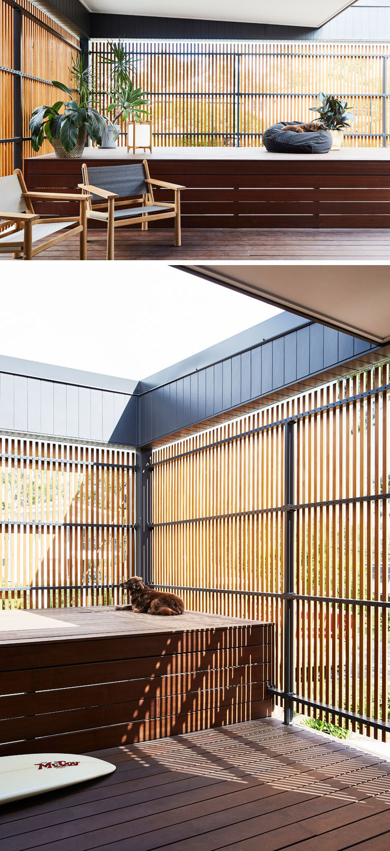 This modern private patio, which is partially covered, is hidden behind a section of wood slats featured on the front of the house. #Patio #Screen #WoodScreen