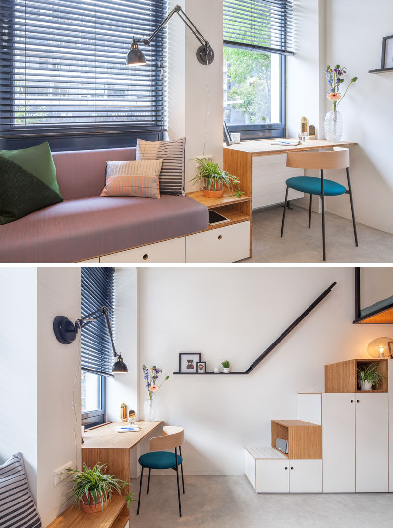 The designers of this small apartment created a built-in couch and desk unit that runs along the windows. #BuiltInFurniture #Design #Furniture #Desk #Couch