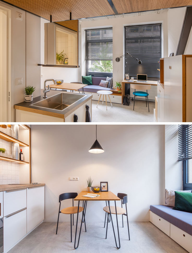 As the apartment offers no space for a vanity unit in the bathroom and a sink in the kitchen, both have been combined. The sink is divided by a floating panel which is on one side a sink with mirror. And on the other side, it is a sink in the kitchen with a chalkboard. #SmallApartment #Sink #Dining