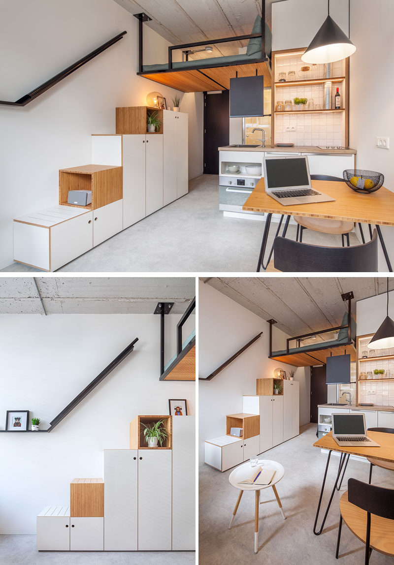 This modern and small apartment has a bed attached to the ceiling, hanging 3 meters above the floor. A large wardrobe does double duty as storage and due to its design, it also acts as a sturdy staircase to the bed. #LoftBed #Stairs #Storage #SmallLiving #ApartmentDesign