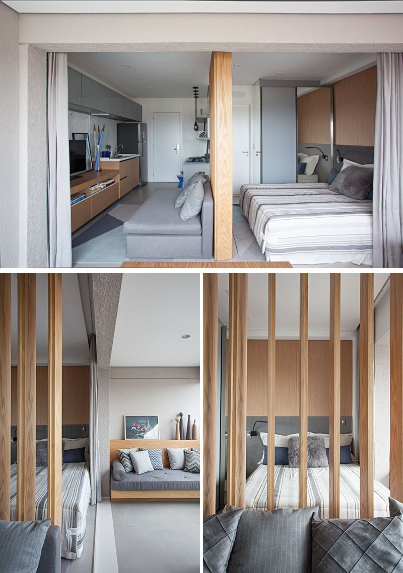 The living area and the bedroom area in this small apartment are separated by a wood partition wall. By using wood slat partition, light is able to travel throughout the apartment and helps to make the apartment feel larger. #Apartment #WoodSlatPartition #WoodSlat #Divider