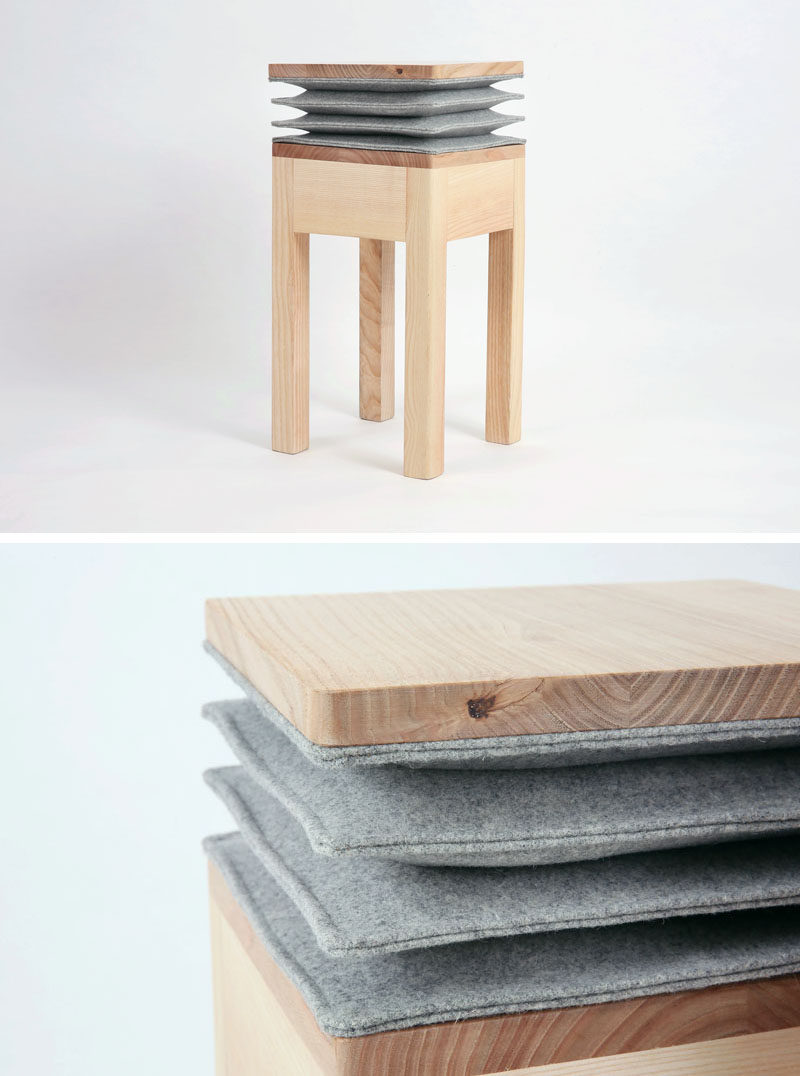 Soraia Gomes Teixeira has collaborated with Burel Mountain Originals to create the Xia Stool, that has an accordion-like detail below the seat, that when sat on, creates a musical note. #ModernFurniture #FurnitureDesign #Seating