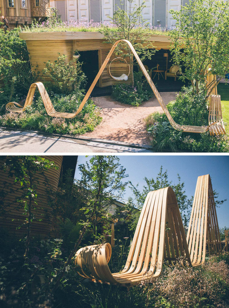 Tom Raffield and Darren Hawkes designed a striking wood pavilion with a spiraling steam bent bench for the Chelsea Flower Show. #SteamBentWood #Woodworking #Design