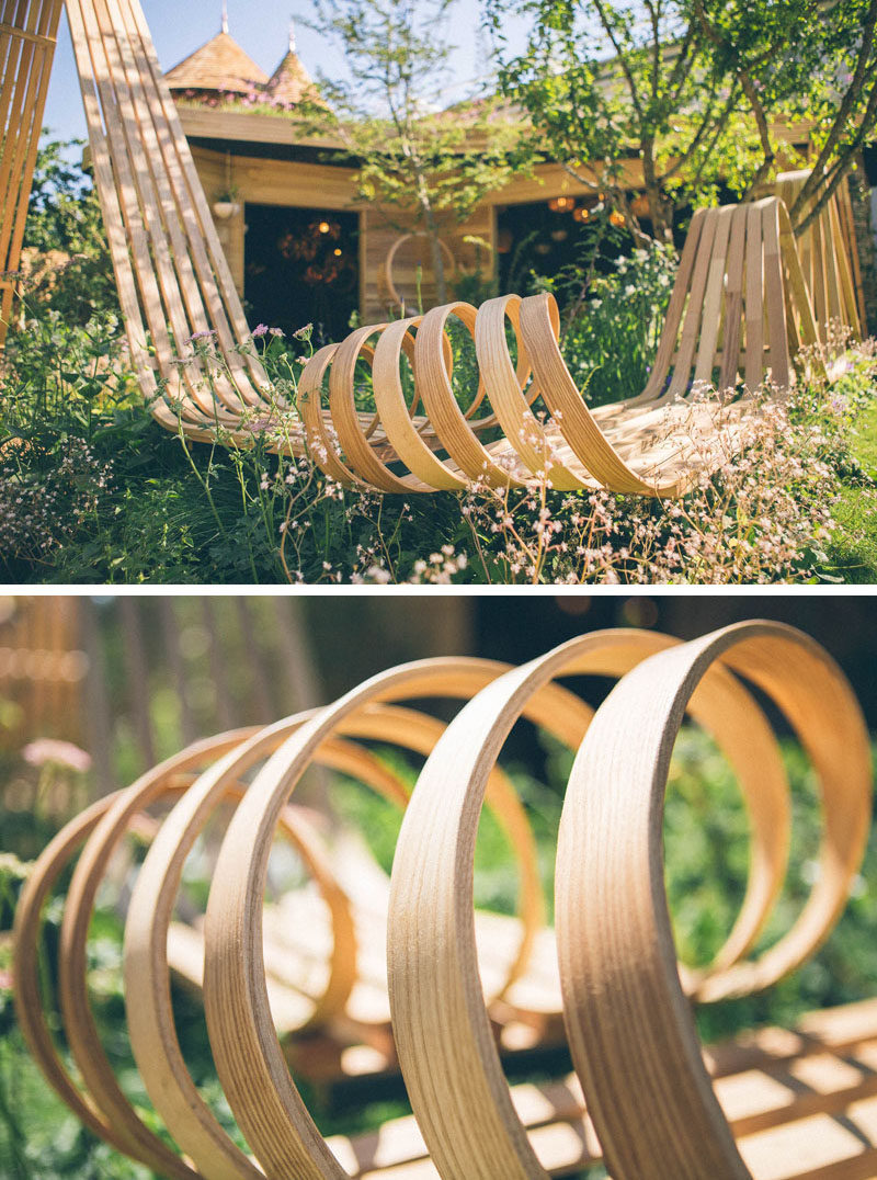 Tom Raffield designed a striking wood pavilion with a spiraling steam bent bench for the Chelsea Flower Show. #SteamBentWood #Woodworking #Design