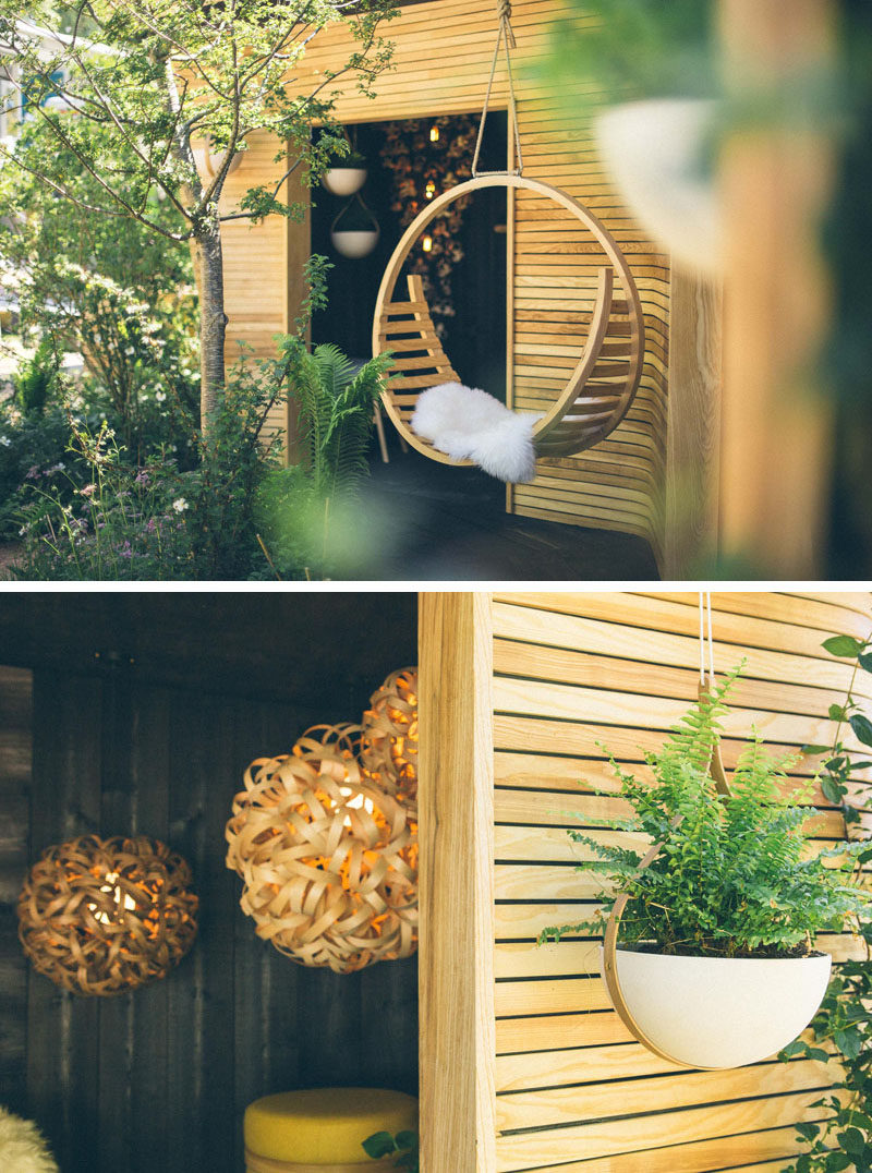 Tom Raffield designs were shown off at the Chelsea Flower Show. #HangingChair #HangingPlanter