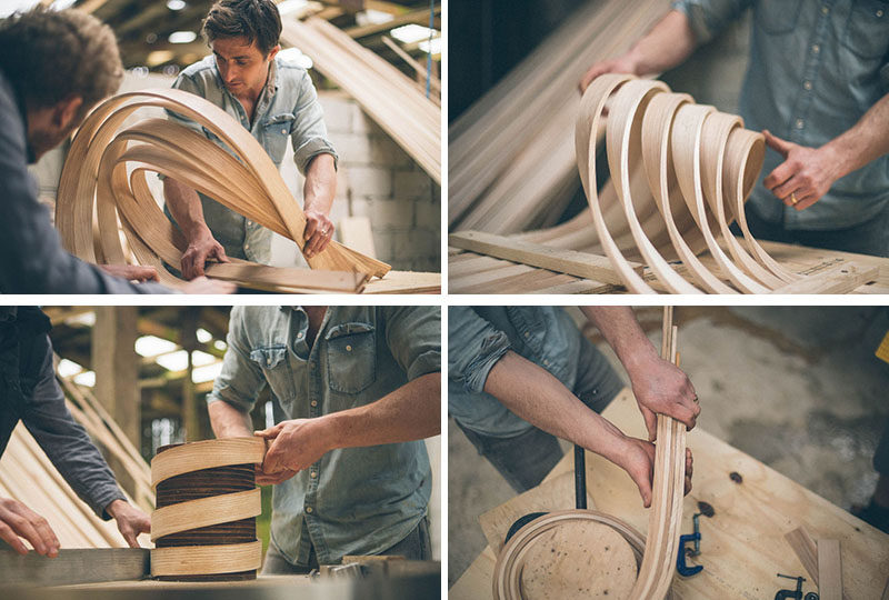 A behind-the-scenes look at Tom Raffield making steam bent wood designs. #TomRaffield #Wood #Woodworking