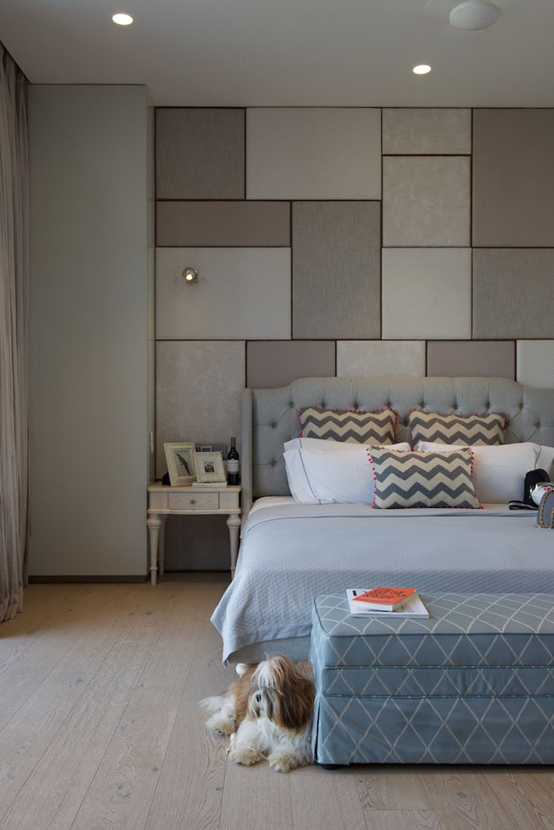 This bedroom uses muted tones that help to create a calming atmosphere. #Bedroom #CalmingBedroom #BedroomDesign