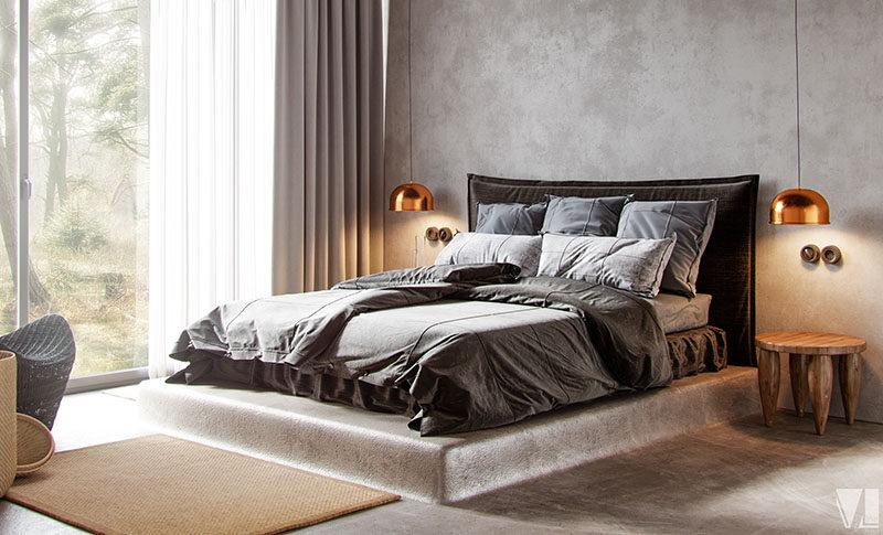 design idea - bed elevated on a concrete platform   contemporist Idea Bed Frame