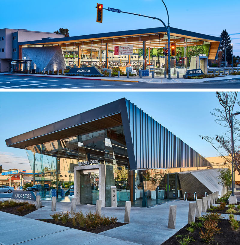 GBL Architects have recently completed the Tudor House Liquor Store in Victoria, Canada, that has a striking glass facade. #ModernRetailStore #ModernArchitecture #RetailDesign
