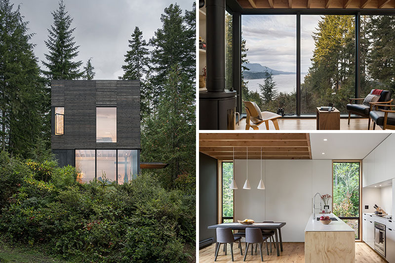mw|works architecture + design have designed 'The Little House', a small and modern cabin, that's located in Seabeck, Washington State. #ModernCabin #DarkWoodSiding #Architecture