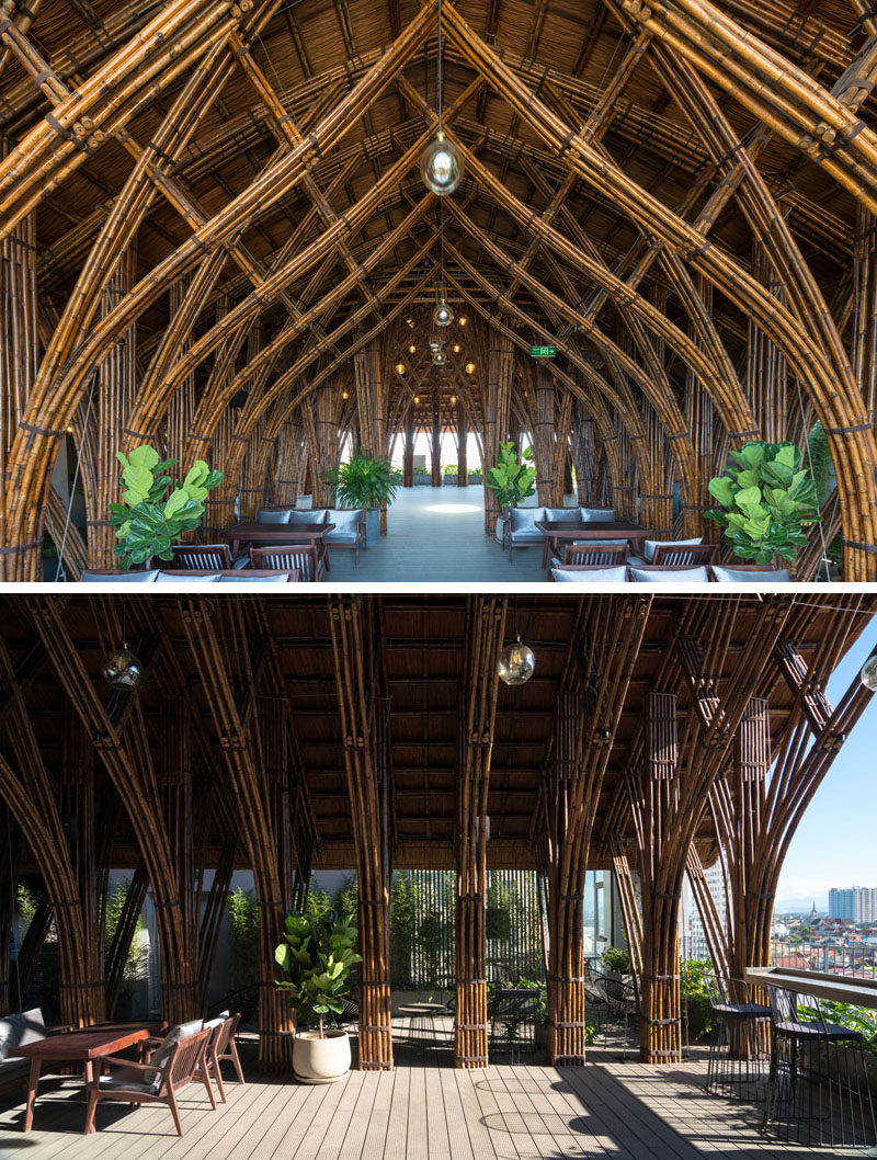 Vo Trong Nghia Architects have designed the renovation of a cafe, using bamboo as the material, to create a cave-like experience. #Bamboo #CafeDesign #InteriorDesign #Architecture