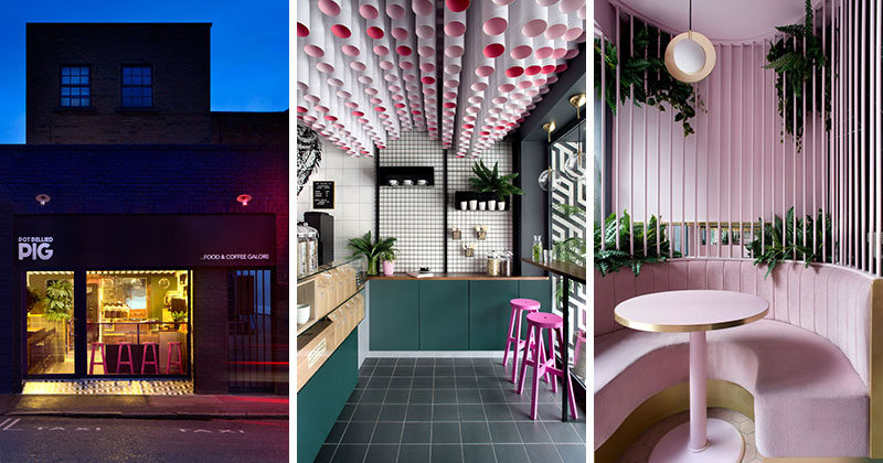 Kingston | Lafferty Design have designed the Pot Bellied Pig, a cafe in Dublin, Ireland, that features fun colors, and a creative ceiling installation. #CafeDesign #InteriorDesign