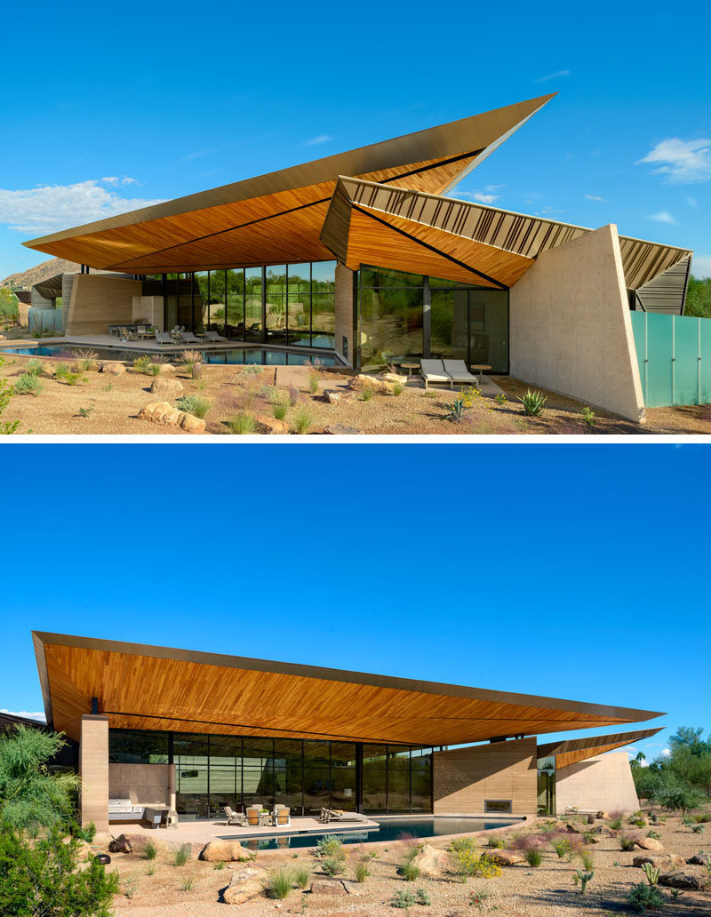 This modern house has a floating roof canopy, the underside of which is comprised of tectonic-like wood forms inspired by local geology and monsoon cloud formations. #ModernArchitecture #RoofDesign #SculpturalRoof #WoodRoof
