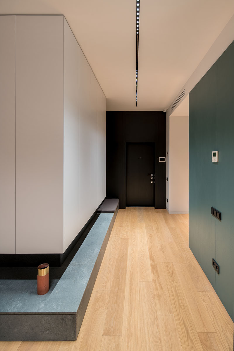 This modern apartment has light wood flooring throughout, and a small ledge leads to the living room. #Hallway #InteriorDesign