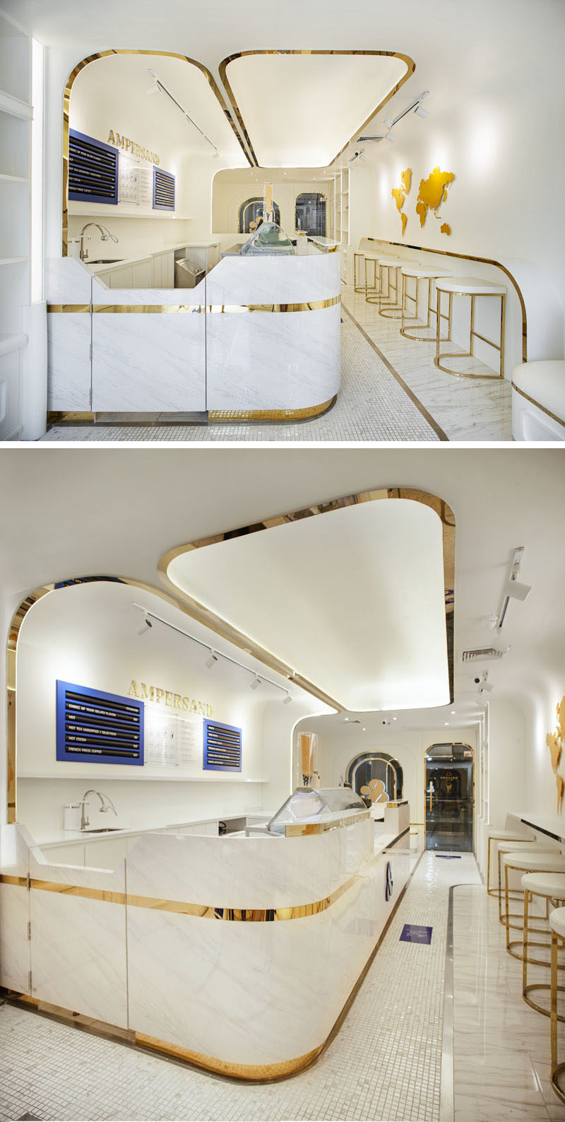 This modern gelato boutique features white and navy blue, with touches of gold to add elegance to the interior. #GelatoBoutique #RetailDesign