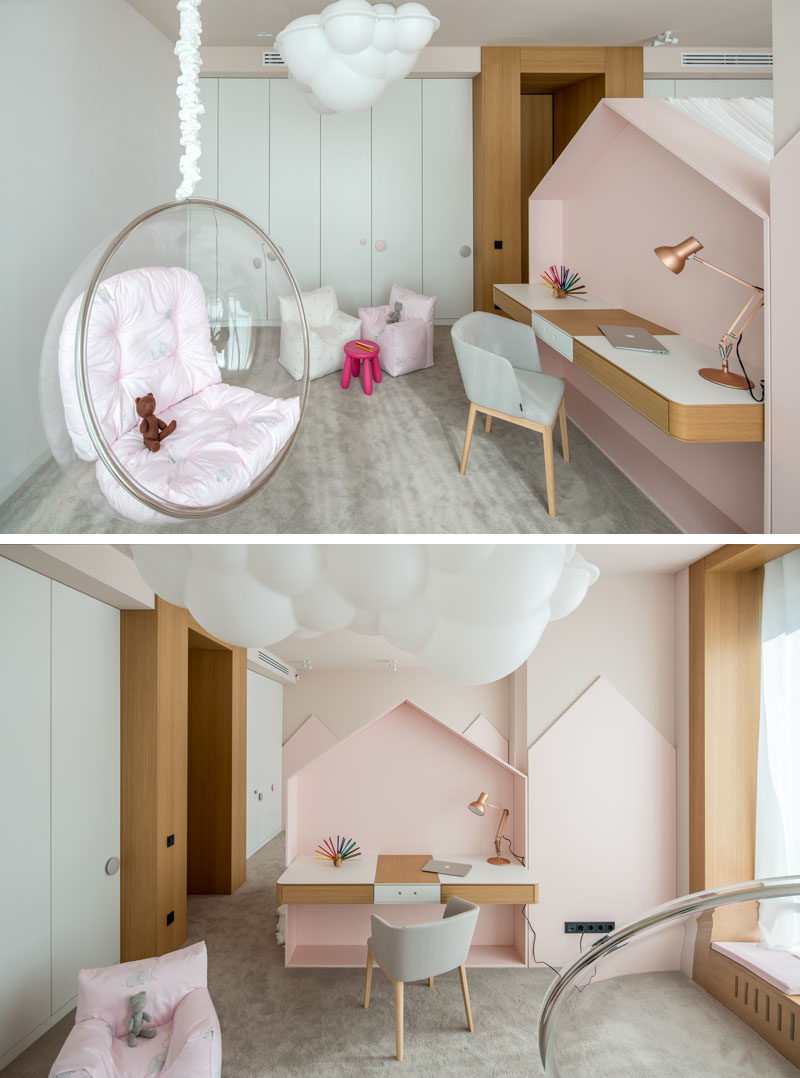 This children's bedroom has a play area with a desk and hanging chair behind the bed. #Bedroom #PlayArea #HomeworkStation