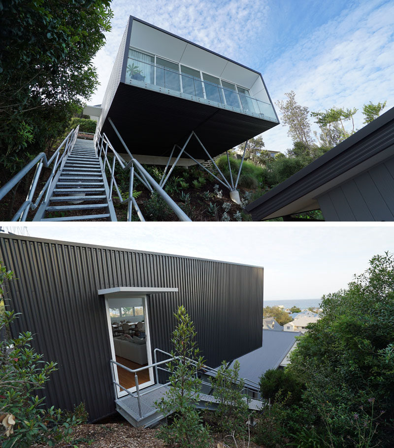 An industrial galvanized steel set of stairs leads to this modern and minimalist backyard studio. #Stairs #OutdoorStairs #Architecture