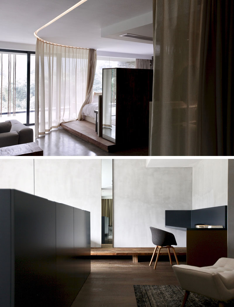 This modern hotel room has a sheer curtain, that creates some privacy without blocking the light. #HotelRoom #Curtain #InteriorDesign