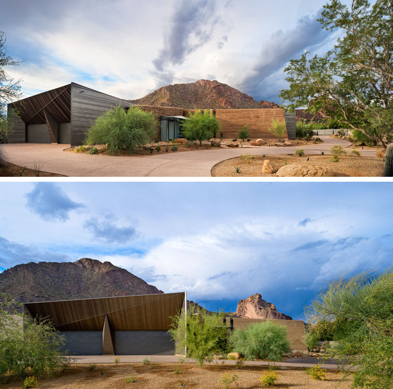 Kendle Design Collaborative were inspired by desert forms, indigenous materials, natural light, and mountain views, when they designed this house in Paradise Valley, Arizona. #ModernHouse #ModernArchitecture #Sculptural