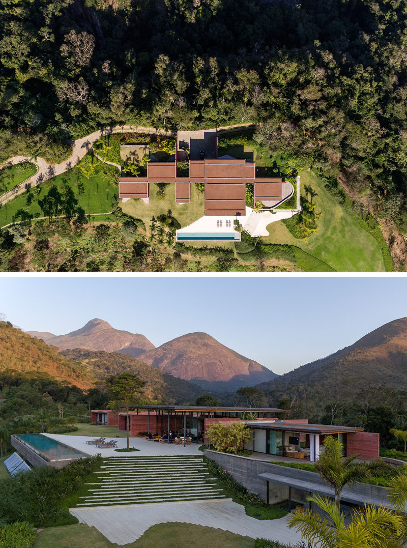 Bernardes Arquitetura have designed Casa Terra, a modern house in Itaipava, Rio de Janeiro, that features an expansive wood roof with walls made of pigmented concrete. #PigmentedConcrete #WoodRoof #Architecture #ModernHouse