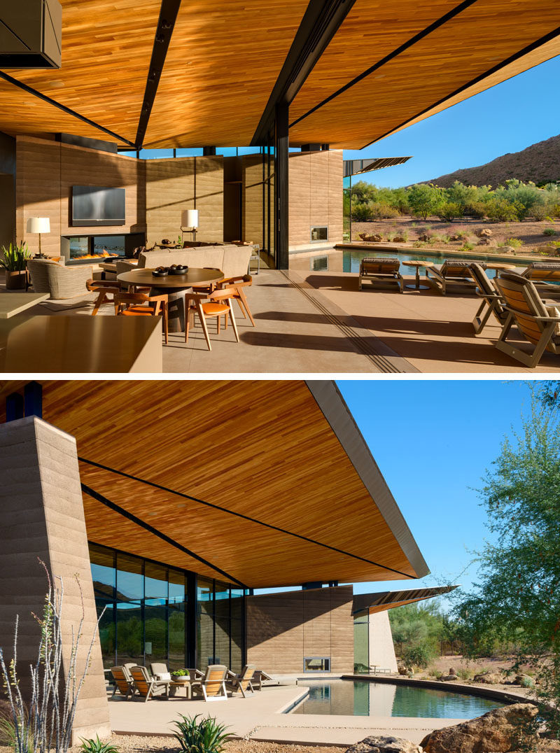 The signature feature of this modern house is its floating roof canopy, the underside of which is comprised of tectonic-like forms inspired by local geology and monsoon cloud formations. #ModernHouse #WoodCeiling #ModernArchitecture