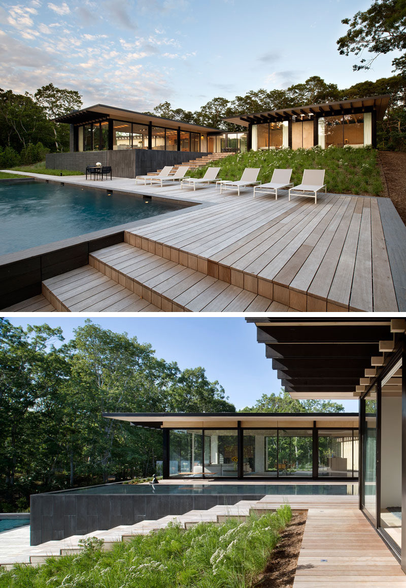 The home overlooks the backyard, which has a swimming pool and a deck. Steps lead from the swimming pool up to a reflecting pool, and the house. #Landscaping #SwimmingPool #Deck #ReflectingPool