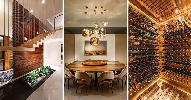Architecture and interior design firm Azul Celeste, have recently completed the interior design of CASA IC, a modern house for a family in Mexico. #Wood #WoodSlatWall #RoundDiningTable #WineCellar