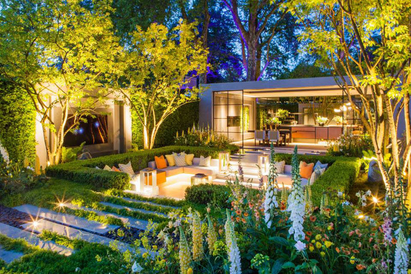 This modern garden features a sunken patio / lounge area, water features, built-in televisions, and a pavilion with a dining area and kitchen. #ModernGarden #Landscaping #LandscapeDesign #Garden #Backyard