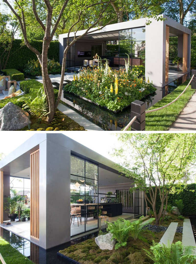 This modern garden pavilion houses a dining and kitchen area, whilethe large sliding glass doors give an industrial finish to the space. #GardenPavilion #LandscapeDesign #Landscaping #Architecture