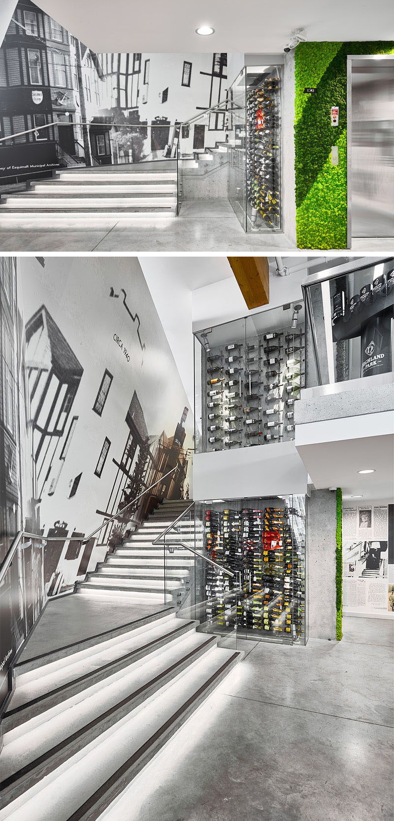 Feature stairs at the rear of this modern liquor store lead up to a mezzanine, and a conditioned wine display, both wrap around the elevator core. #Stairs #WineDisplay #RetailDesign