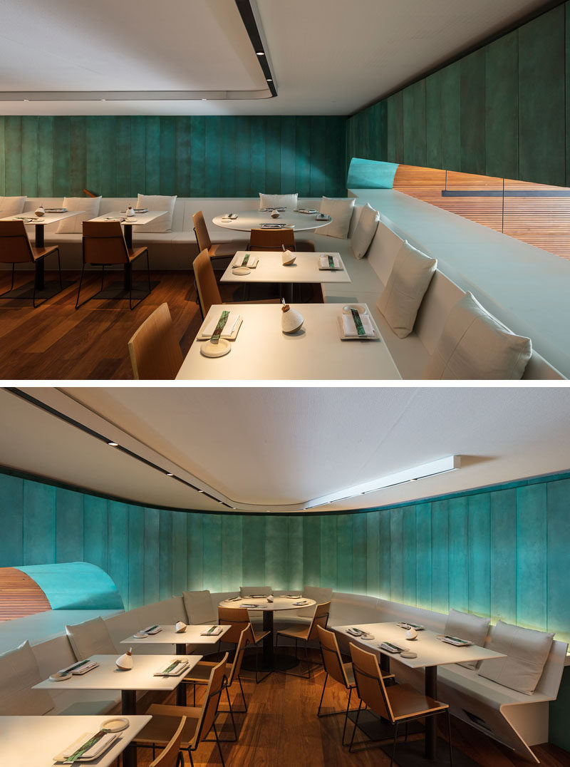 Inspired by the ocean and fishing vessels, oxidized copper and natural wood have been used as the main materials throughout this modern Japanese restaurant. #Restaurant #Copper #Wood #InteriorDesign
