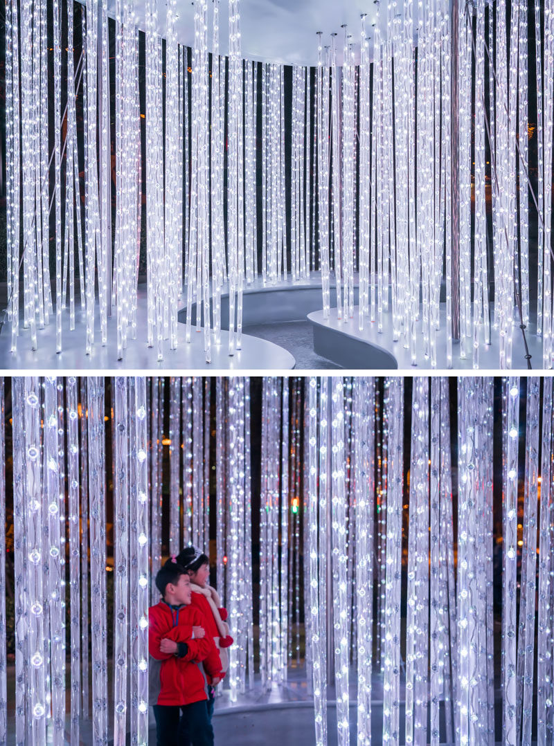 """Design studio Mur Mur Lab have created New Moon,a light sculpture that's included as part of """"Lumiere Shanghai"""" in China. #Sculpture #PublicArt #LightSculpture #Design"""