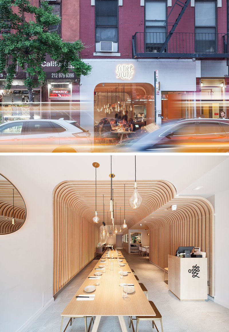 New Practice Studio have recently completed Hunan Slurp, a modern eatery that features authentic street rice noodles, and is located in the East Village neighborhood of New York. #Restaurant #ModernRestaurant #NewYork #InteriorDesign