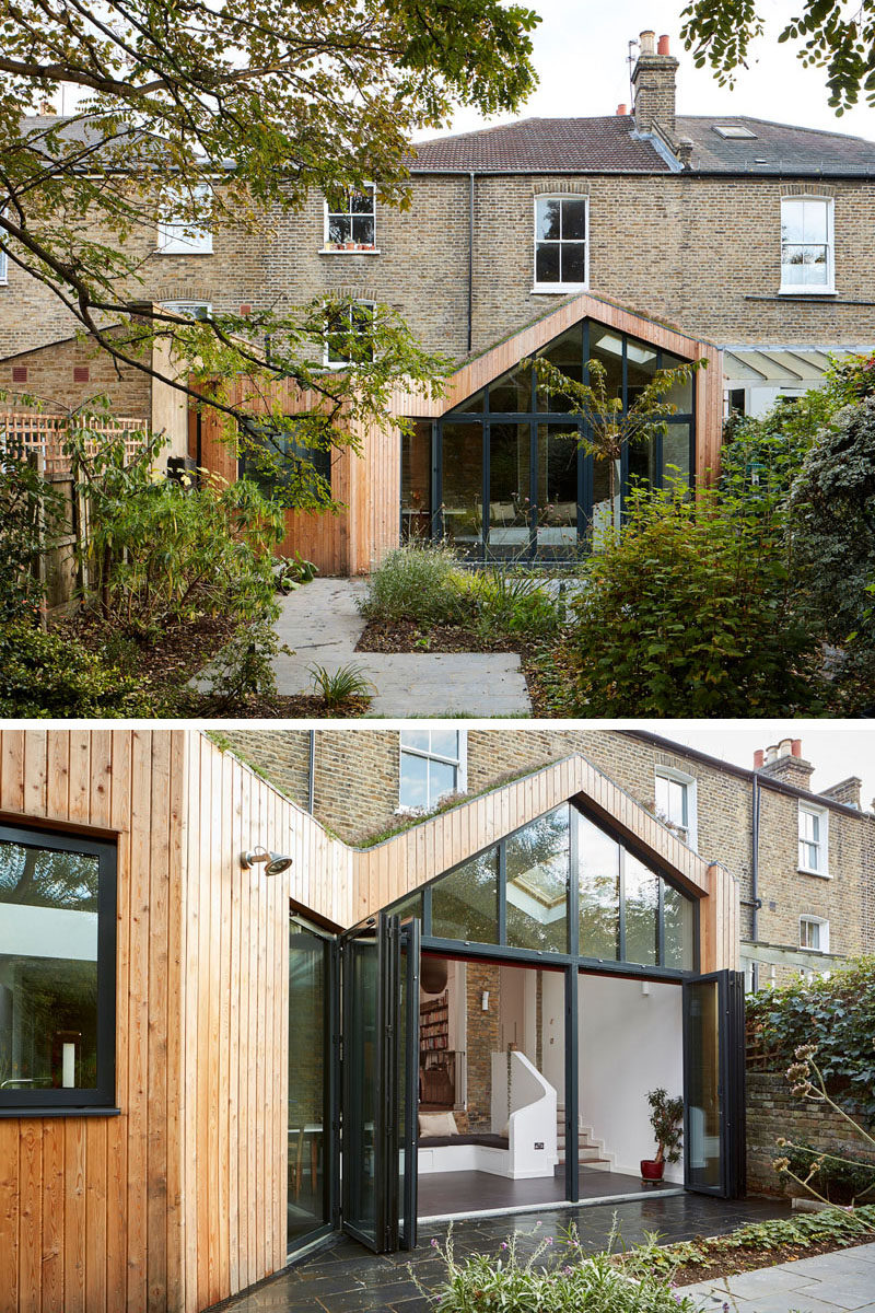Scenario Architecture have designed a modern wood extension to a large Victorian house, located in a conservation area in Hackney, London. #ModernExtension #HouseAddition #Architecture