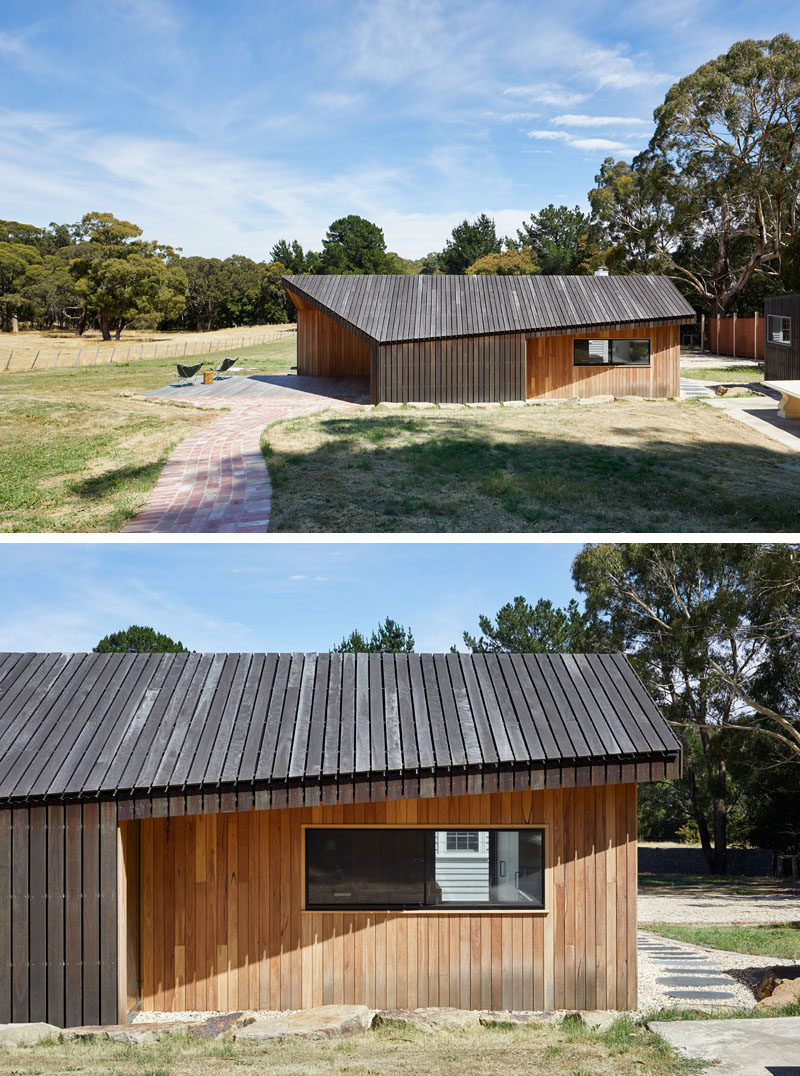 The form of this modern wood addition was inspired by the dilapidated timber shearing sheds (lean-to structures) that inhabit the local area.  #ModernArchitecture #WoodExtension #WoodAddition #HouseAddition #HouseExtension