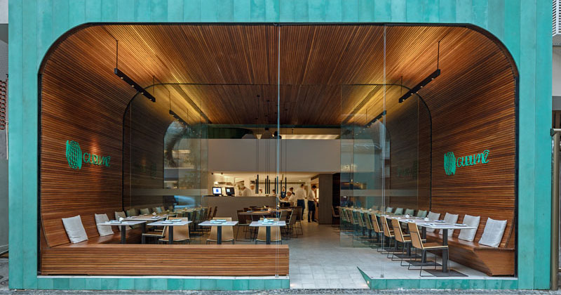 This Restaurant Wraps Its Guests In Warm Wood That Lines The Walls And Ceiling