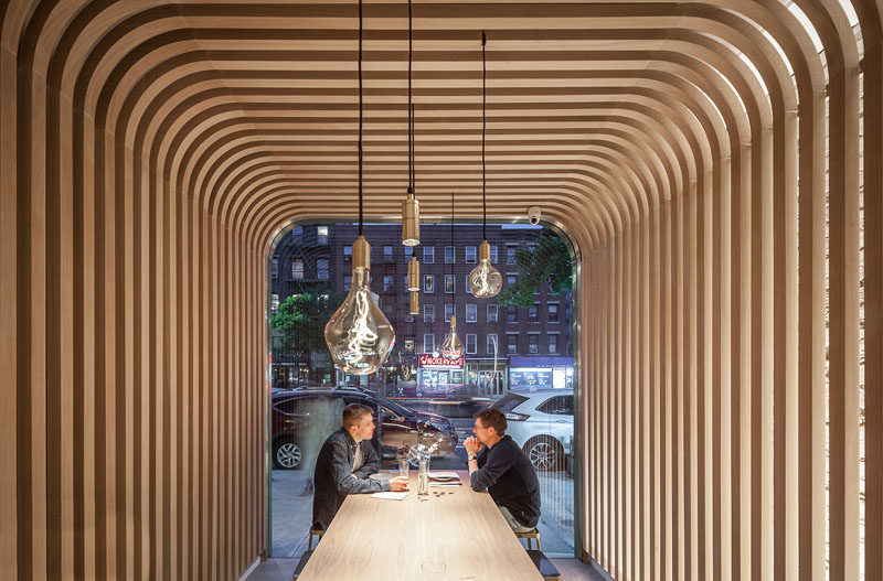 New Practice Studio have recently completed Hunan Slurp, a modern eatery that features authentic street rice noodles, and is located in the East Village neighborhood of New York. #RestaurantDesign #ModernRestaurant
